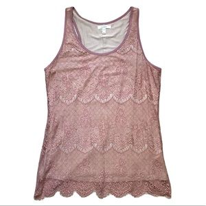 MAURICES Medium Lace Tank Top in Dusty Rose EUC